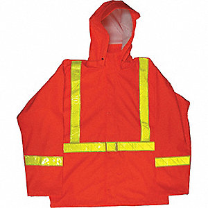 FR RAIN JACKET, PU, HI-VIS, ORANGE, SM