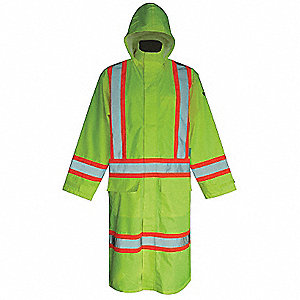 RAIN LONG COAT, HI-VIS, GREEN, 3XL