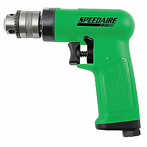 "0.4 HP Industrial Duty Keyed Air Drill, Pistol Style, 3/8"" Chuck Size"