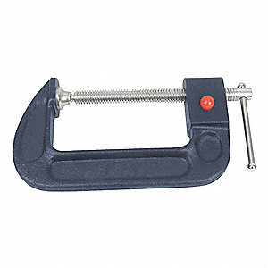 "Regular Duty Cast Iron Quick Release C-Clamp, 6"" Max. Opening, 3-5/8"" Throat Depth, Blue"