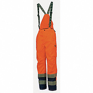 Rain Bib Overall, High Visibility: Yes, ANSI Class: Class E, Polyester, S, Orange