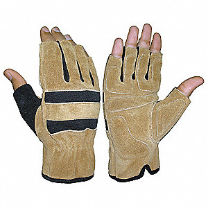 Mechanics Gloves,Leather,3/4 Finger,M,PR
