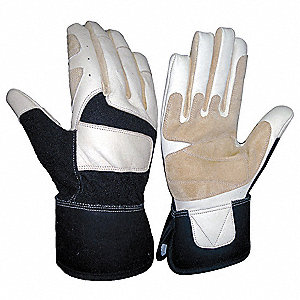 Mechanics Gloves,Goat Skin,Blk/Wht,L,PR