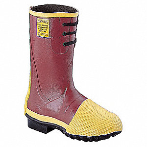"14""H Men's Oversock Boots, Steel Toe Type, Rubber Upper Material, Red, Size 9"