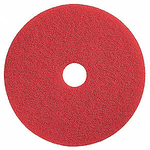 "20"" Red Buffing and Cleaning Pad, Polyester Fiber, Package Quantity 5"