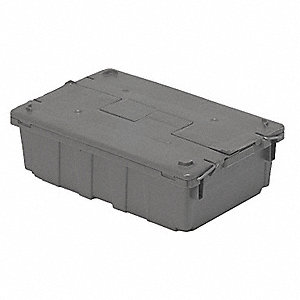 Attached Lid Container,0.8 cu ft,Gray