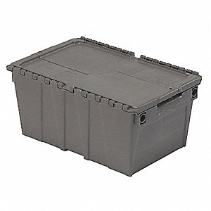 "Attached Lid Container, Gray, 9-3/4""H x 20-3/4""L x 13-5/8""W, 1EA"