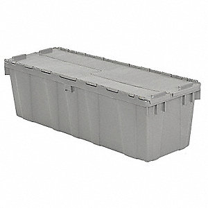 "39""L x 14""W x 13""H High Density Polyethylene Attached Lid Container, Gray"