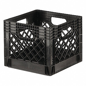DAIRY CRATE,VENTED,13X13X11,BLACK
