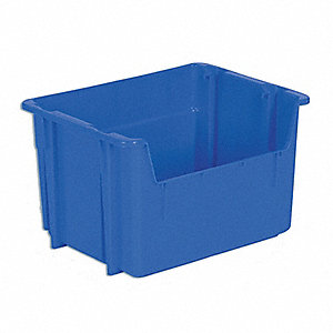 "Stack and Nest Container, High Density Polyethylene, 15-1/4"" Outside Length, 20-1/4"" Outside Width"