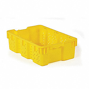 "Stack and Nest Container, Yellow, 7-3/8""H x 24""L x 16""W, 1EA"