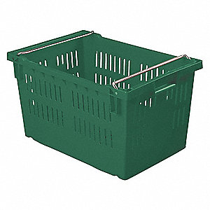 "Stack and Nest Container, Green, 13-1/4""H x 23-5/8""L x 15-3/4""W, 1EA"