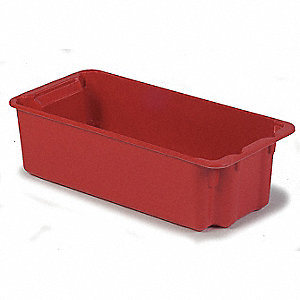 Stack and Nest Bin,34-1/8 in. L,Red