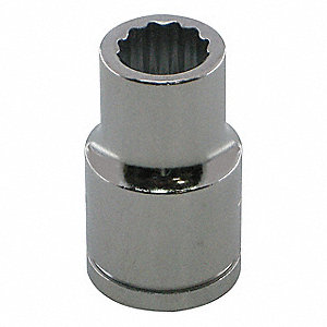 "25mm Alloy Steel Socket with 1/2"" Drive Size and Chrome Finish"
