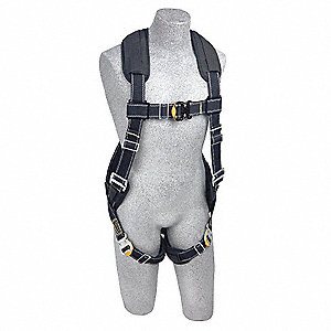 XL Arc Flash Full Body Harness, 7000 lb. Tensile Strength, 310 lb. Weight Capacity, Black