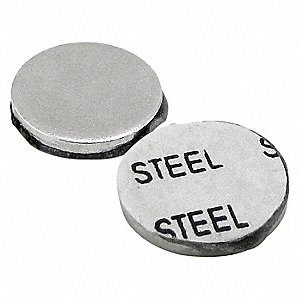 "1/2"" Ferrous Disc, Silver Steel with Acrylic Foam Adhesive and Paper Liner, 10 PK"