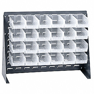 "Louvered Bench Rack with 24 Bins, 27""W x 1/4""D x 21""H, Number of Sides: 1, 140 lb. Load Capacity"