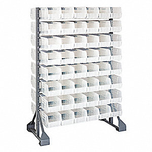 "2-Sided Bin Rail Floor Rack with 96 Bins, 53""H x 36""W x 20""D, Gray"