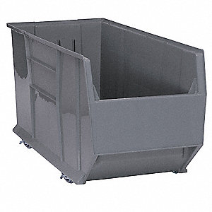 "Mobile Hopper Bin, Gray, 20-1/2""H x 41-7/8""L x 16-1/2""W, 1EA"