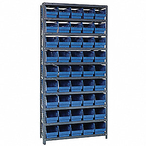 "36"" x 12"" x 75"" Bin Shelving with 4000 lb. Load Capacity, Gray Shelving Unit, Blue Bins"