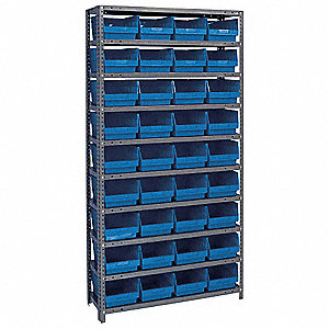 "36"" x 18"" x 75"" Bin Shelving with 4000 lb. Load Capacity, Gray Shelving Unit, Blue Bins"