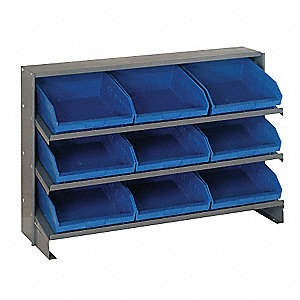 "Steel Bench Pick Rack with 9 Bins, 36""W x 12""D x 26-1/2""H, Load Capacity: 240 lb., Gray"