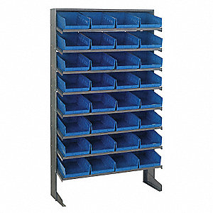 "Steel Pick Rack with 32 Bins, 36""W x 12""D x 60""H, Load Capacity: 400 lb., Gray"