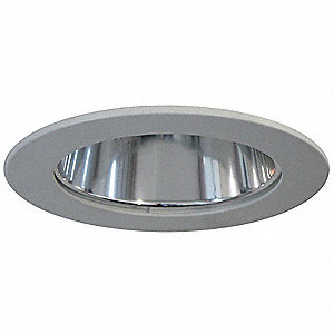 "4"" Silver Reflector Style Halogen, LED Recessed Downlight Trim, Haze Aluminum Reflector"
