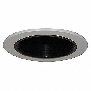 "5"" White Baffle Style Halogen, Incandescent, LED Recessed Downlight Trim, Black Baffle"