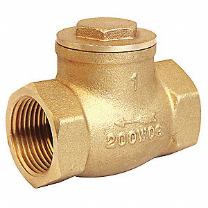 "1-1/2"" Swing Check Valve, Brass, FNPT Connection Type"