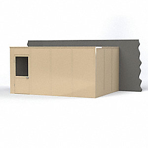 Modular In-Plant Office,  3-Wall,  16 ft. Width,  12 ft. Depth,  8 ft. Height