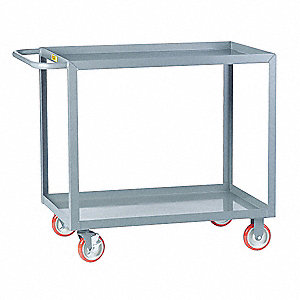 "37-1/2""L x 18""W x 35""H Gray Steel Welded Utility Cart, 1200 lb. Load Capacity, Number of Shelves: 2"