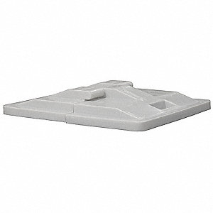 Poly Hinged Lid,20 Bu,Gray