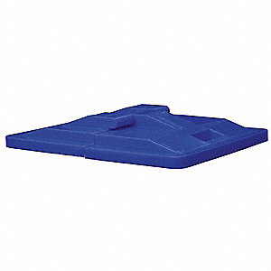 Poly Hinged Lid,16 Bu,Blue
