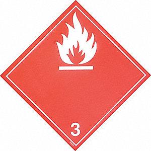 PLACARD TDG FLAMM CLASS 3 10-3/4IN