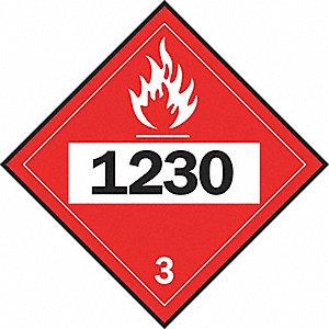 PLACARD FLAMM LIQUID CL 3 RD 10 3/4