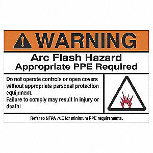 LABEL ARC FLASH WARNING TXT 3.5X5