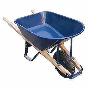 Wheelbarrow, 6 cu. ft. Capacity, Tray Material: Seamless Steel, Number of Wheels: 1