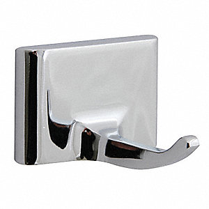 Bathroom Hook,1 Hook,2-1/4In D,Chrome