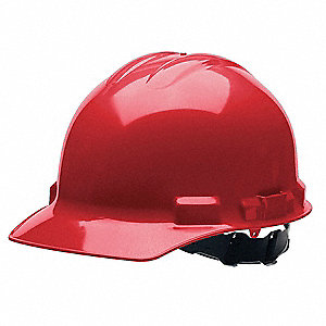 ANSI Class C, E Front Brim Hard Hat, 4 pt. Pinlock Suspension, Red