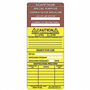 SCAFFTAG INS  SP PURPOSE CAUTION