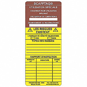 SCAFFTAG INS  SP PURPOSE CAUTION FR