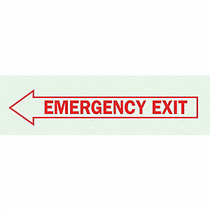 SIGN GLOW DRK EMER EXIT LEFT 3.5X10