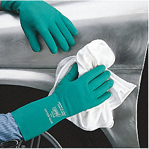 GLOVES NITRILE/FLOCK 15 MIL 13IN GR