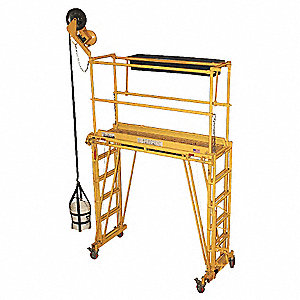 "Rolling Work Platform, Steel, Dual Access Platform Style, 24"" to 132"" Platform Height"
