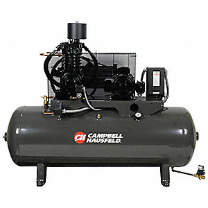 7-1/2 HP,  80 gal. Horizontal Tank Mounted Electric Air Compressor, CFM: 24.3