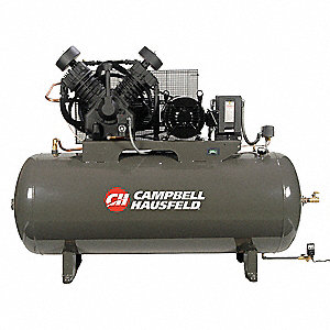 3 Phase Horizontal Tank Mounted 10HP Electric Air Compressor, 120 gal., 175 psi