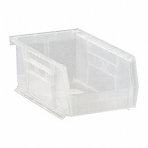 "Hang and Stack Bin, Clear, 7-3/8"" Outside Length, 4-1/8"" Outside Width, 3"" Outside Height"