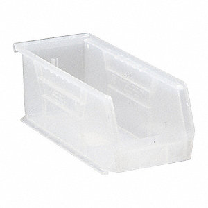 "Hang and Stack Bin, Clear, 10-7/8"" Outside Length, 4-1/8"" Outside Width, 4"" Outside Height"