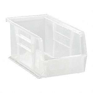 "Hang and Stack Bin, Clear, 10-7/8"" Outside Length, 5-1/2"" Outside Width, 5"" Outside Height"